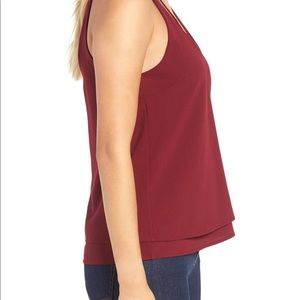 Leith Tops - Burgundy/Cranberry Strappy Tiered Tank